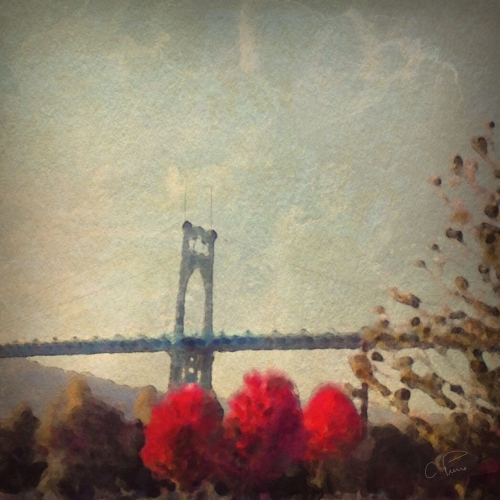 """St. Johns Bridge and Three Red Trees."" ©2013. Christianna Pierce"